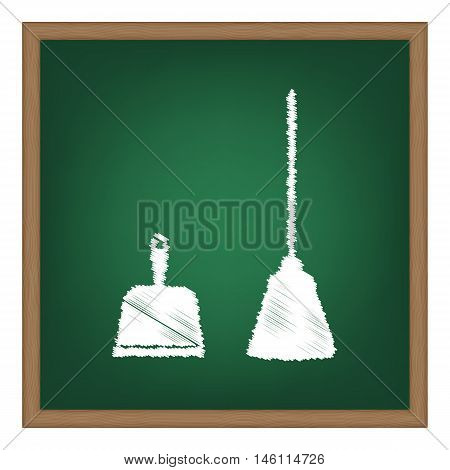 Dustpan Vector Sign. Scoop For Cleaning Garbage Housework Dustpan Equipment. White Chalk Effect On G