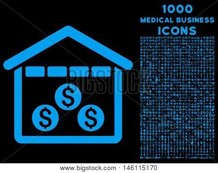 Money Depository raster icon with 1000 medical business icons. Set style is flat pictograms, blue color, black background.