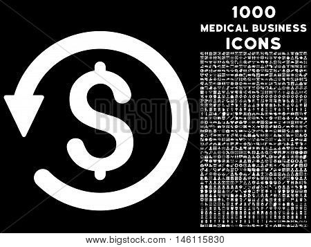 Chargeback raster icon with 1000 medical business icons. Set style is flat pictograms, white color, black background.