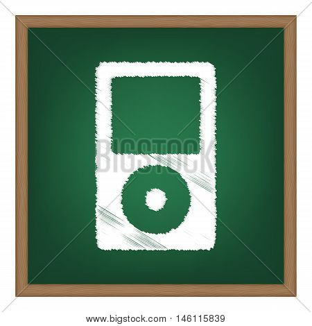 Portable Music Device. White Chalk Effect On Green School Board.