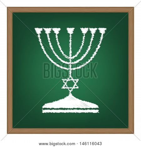 Jewish Menorah Candlestick In Black Silhouette. White Chalk Effect On Green School Board.