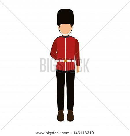 avatar british guard man. london symbol cartoon. vector illustration