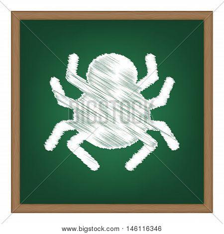 Spider Sign Illustration. White Chalk Effect On Green School Board.