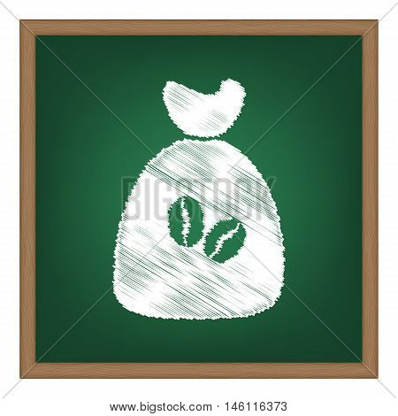 Coffee Bag Icon. Coffee Bag Vector. Coffee Bag Icon Button. White Chalk Effect On Green School Board