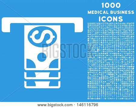 Banknotes Withdraw raster icon with 1000 medical business icons. Set style is flat pictograms, white color, blue background.