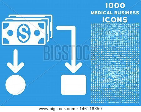 Cashflow raster icon with 1000 medical business icons. Set style is flat pictograms, white color, blue background.