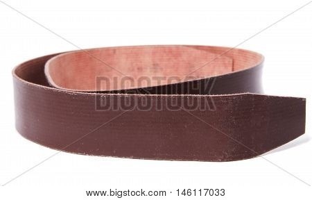 Vintage leather belt with no holes on white
