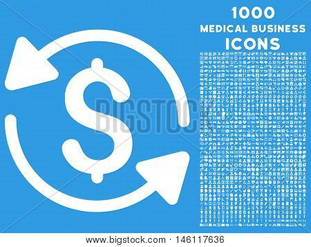 Money Turnover raster icon with 1000 medical business icons. Set style is flat pictograms, white color, blue background.