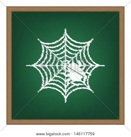 Spider On Web Illustration White Chalk Effect On Green School Board.
