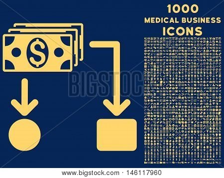 Cashflow raster icon with 1000 medical business icons. Set style is flat pictograms, yellow color, blue background.