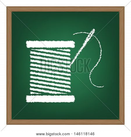 Thread With Needle Sign Illustration. White Chalk Effect On Green School Board.