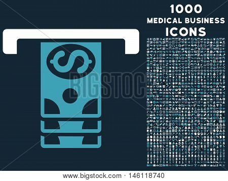 Banknotes Withdraw raster bicolor icon with 1000 medical business icons. Set style is flat pictograms, blue and white colors, dark blue background.