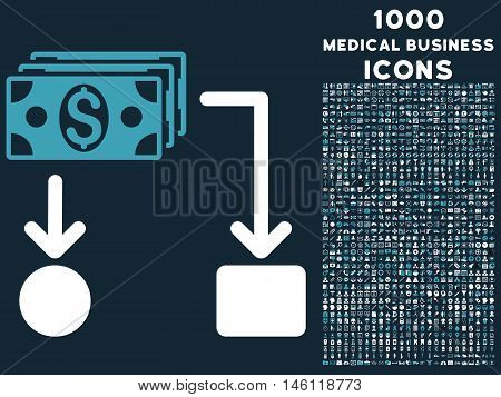 Cashflow raster bicolor icon with 1000 medical business icons. Set style is flat pictograms, blue and white colors, dark blue background.