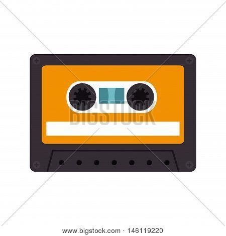 retro audio cassete tape with orange label. vector illustration