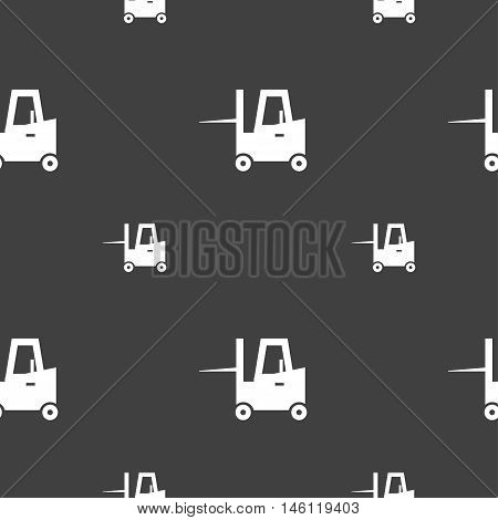 Forklift Icon Sign. Seamless Pattern On A Gray Background. Vector