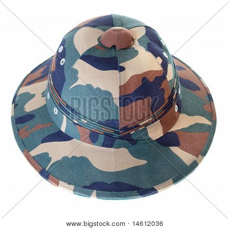 Camouflage Pith Helmet Isolated White Front View
