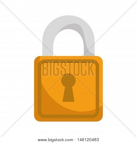 yellow security lock with keyhole. safety protection equipment. vector illustration