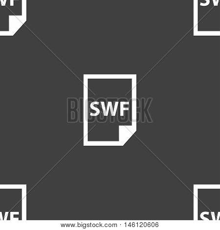 Swf File Icon Sign. Seamless Pattern On A Gray Background. Vector