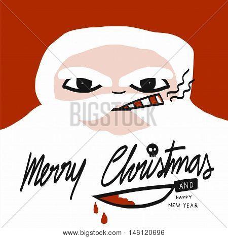 Bad Santa Claus smoking cigar cartoon illustration
