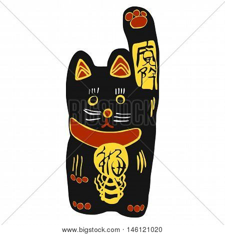 Black lucky cat with gold Japanese word mean lucky and happiness