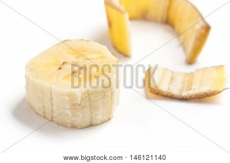Slices of Banana Prata isolated on white background