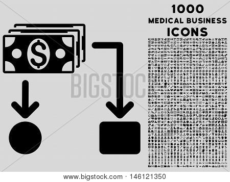 Cashflow raster icon with 1000 medical business icons. Set style is flat pictograms, black color, light gray background.