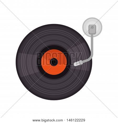 vinyl old player musical device. retro music object. vector illustration