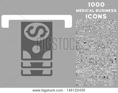 Banknotes Withdraw raster bicolor icon with 1000 medical business icons. Set style is flat pictograms, dark gray and white colors, silver background.
