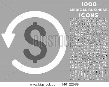 Chargeback raster bicolor icon with 1000 medical business icons. Set style is flat pictograms, dark gray and white colors, silver background.