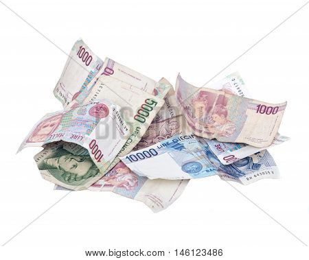 Itexit, italian lira currency bank notes separated on white background