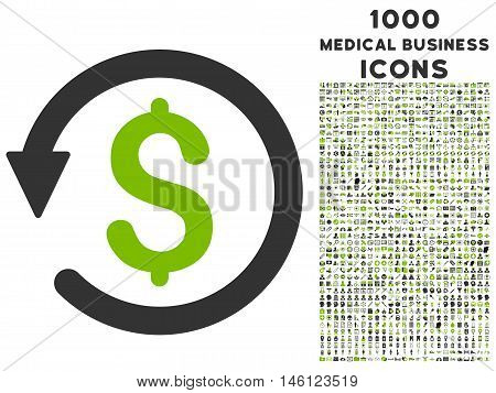 Chargeback raster bicolor icon with 1000 medical business icons. Set style is flat pictograms, eco green and gray colors, white background.