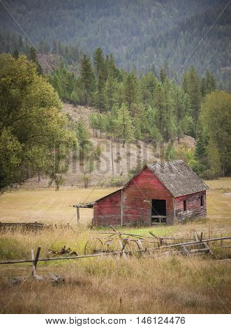 Small barn in pasture east of Coeur d'Alene Idaho.