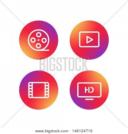 Different simple web pictograms collection. Lineart video, application icons