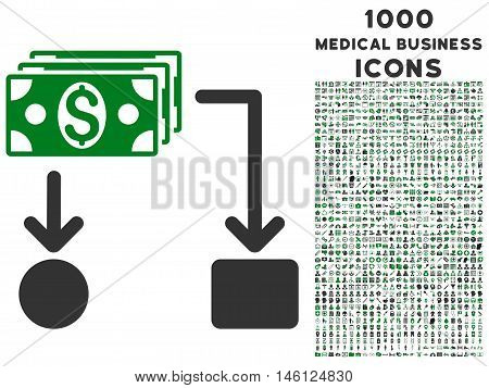 Cashflow raster bicolor icon with 1000 medical business icons. Set style is flat pictograms, green and gray colors, white background.