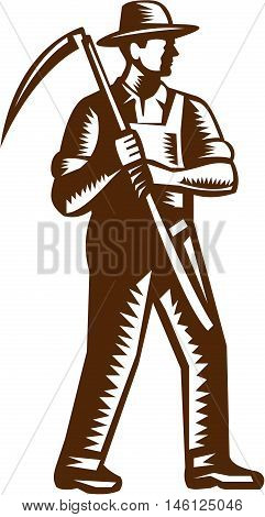 Illustration of an organic farmer farm worker full body wearing hat holding scythe facing side set on isolated white background done in retro woodcut style.