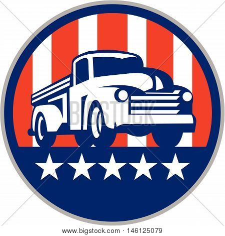 Illlustration of a vintage pick up truck set inside circle with usa american stars and stripes flag in the background done in retro style.