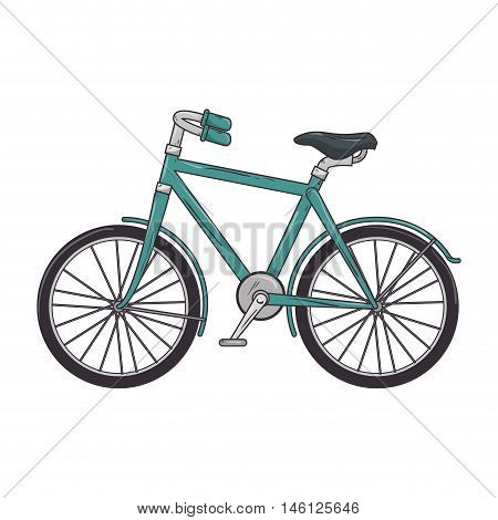 blue classic bicycle transport vehicle. healthy ride activity. vector illustration