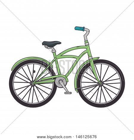 green classic bicycle transport vehicle. healthy ride activity. vector illustration