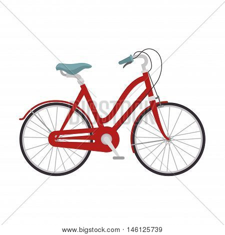red classic bicycle transport vehicle. healthy ride activity. vector illustration