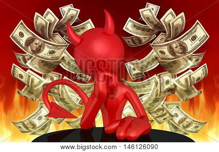 Devil Character With Money 3D Illustration