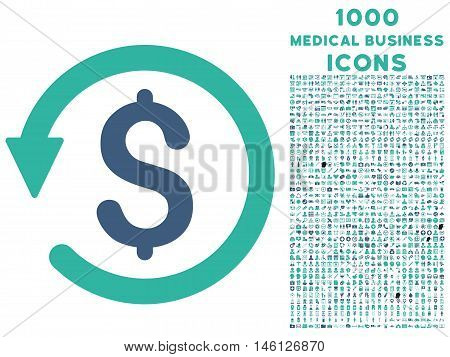 Chargeback raster bicolor icon with 1000 medical business icons. Set style is flat pictograms, cobalt and cyan colors, white background.
