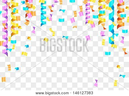 Many falling tiny colorful and bright confetti isolated on transparent background. Confetti explosion.