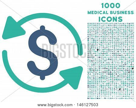 Money Turnover raster bicolor icon with 1000 medical business icons. Set style is flat pictograms, cobalt and cyan colors, white background.