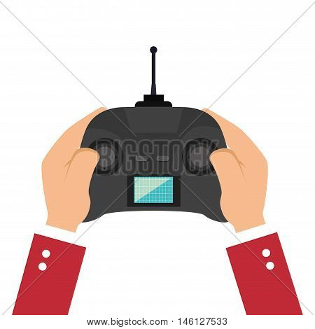 hand holding a game portable control with joystick navigation buttons and screen. vector illustration
