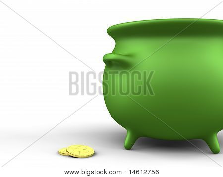 Green Pot And Coins