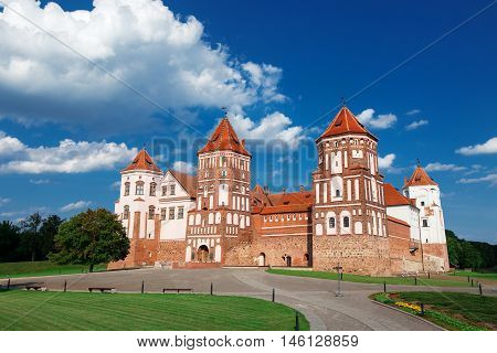 View On Castle Mir In Republic Belarus At Daytime