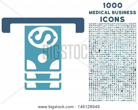 Banknotes Withdraw raster bicolor icon with 1000 medical business icons. Set style is flat pictograms, cyan and blue colors, white background.