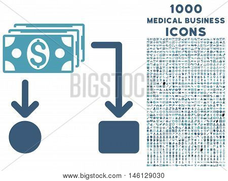 Cashflow raster bicolor icon with 1000 medical business icons. Set style is flat pictograms, cyan and blue colors, white background.