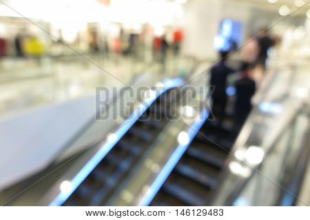 Shopping mall modern interior, abstract blur background