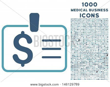 Dollar Badge raster bicolor icon with 1000 medical business icons. Set style is flat pictograms, cyan and blue colors, white background.